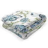 Coperta morbida con conchiglia, coperta da divano, coperta in pile piccola, 130 x 150 cm, coperta da divano, coperta calda e morbida, in flanella, per il soggiorno, da viaggio, leggera e morbida