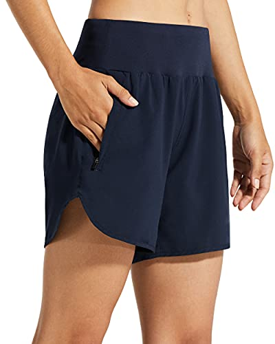 Libin Womens 5 Inches Athletic Running Shorts with Liner Quick Dry Workout Gym Shorts for Lounge Sports with Zipper Pockets,Navy Blue M