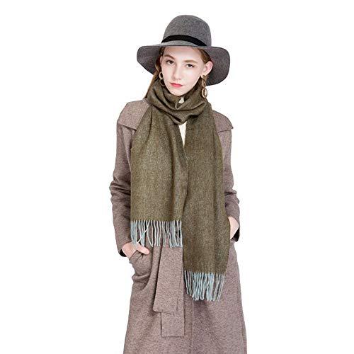 Mantón de Las Mujeres Versátil Otoño Invierno Calor Engrosamiento Estilo Europeo y Americano Moda Color sólido Bufanda Borla Elegante Collar (Color : B)