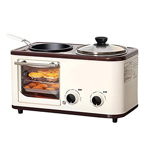 LITING multifunctionele broodrooster mini-oven met elektrische mini-fornuis met dubbele kookplaten en grill-ontbijtmachine 4 in 1 instelbare temperatuur 392 * 256 * 245 mm