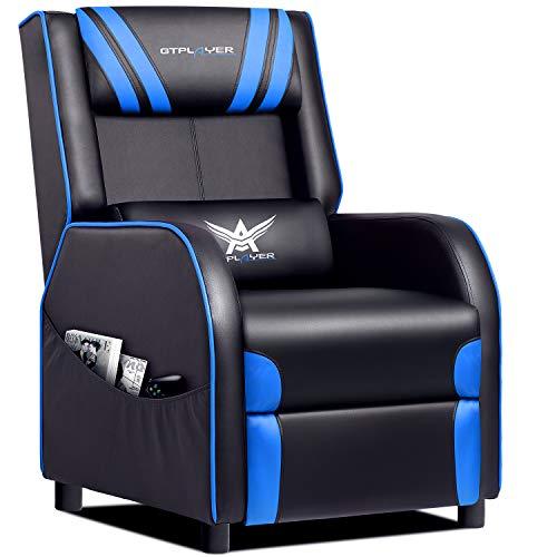 GTPLAYER Gaming sillón Silla Individual Sala de Estar sofá reclinable Asiento reclinable de Cuero PU Asiento de Cine en casa Respaldo Giratorio Silla giratoria Ajustable Blue