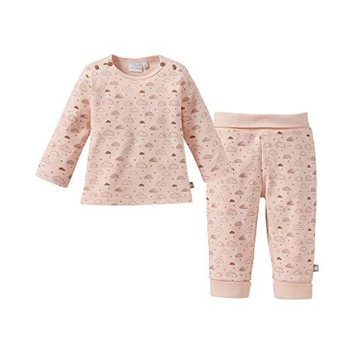 Bornino Basics Schlafanzug lang - Baby-Langarm-Pyjama im Allover-Wolken-Print - Oberteil mit Druckknöpfen & Hose mit Komfortbund - blau