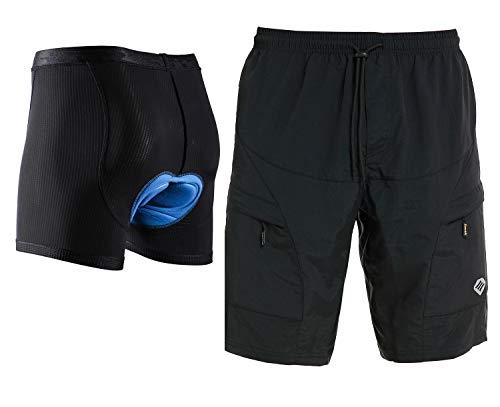 Santic Men's Loose-fit Mountain Bike Shorts Coolmax Lightweight Padded Cycling MTB Shorts Black XXL