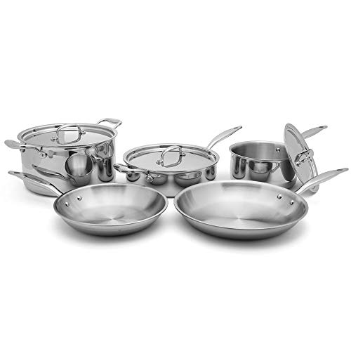 Heritage Steel 8 Piece Core Cookware Set - Titanium Strengthened 316Ti Stainless Steel with 5-Ply Construction - Induction-Ready and Dishwasher-Safe, Made in USA