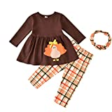 Kids Toddler Baby Girls Thanksgiving Dress Top Clothes Turkey Tunic Shirt and Plaid Leggings Pants Set with Scarf Outfits (Brown Plaid, 18-24 Months)