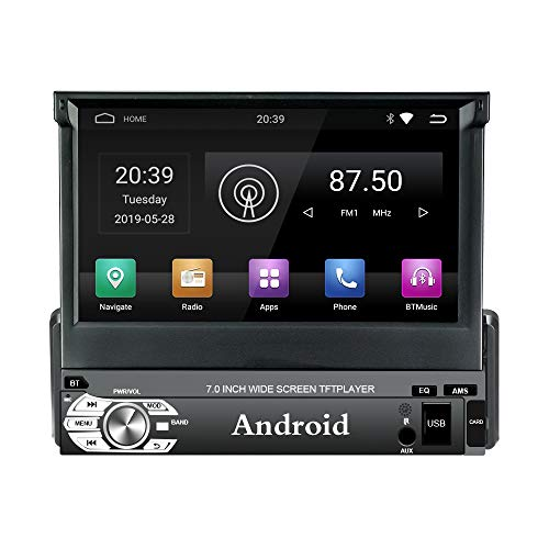 Panlelo T1 Plus Android 9.0 Estéreo para automóvil Navegación GPS 2GB RAM 1 DIN Auto Radio (Am/FM/RDS) HD 1024 600 Pantalla táctil capacitiva Llamada Manos Libres de BT Espejo de Enlace