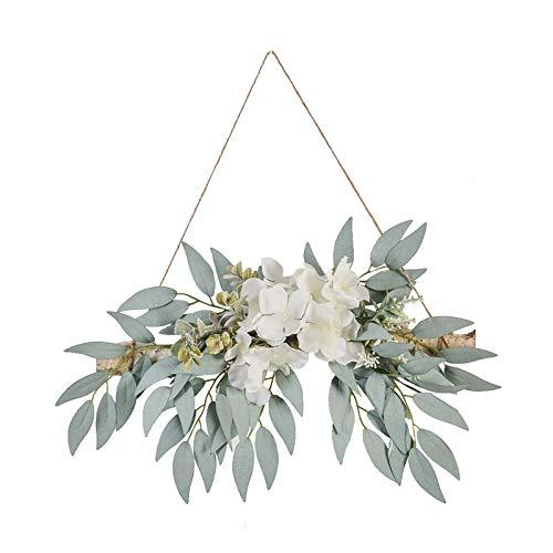 RTWAY Decoración de pared de eucalipto artificial, hojas de seda artificiales, guirnalda para colgar plantas, decoración de cocina, decoración de pared, hogar, boda