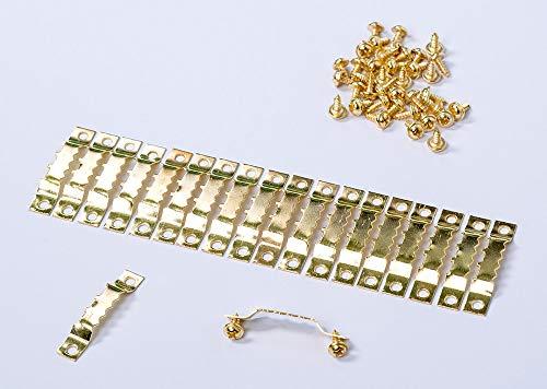 20 Bildaufhänger gold mit Schrauben Sagezahn Zackenaufhänger