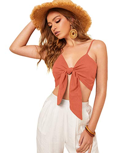 SheIn Women's Summer Sleeveless Strappy Tie Knot Cute Crop Cami Tank Top Medium Orange