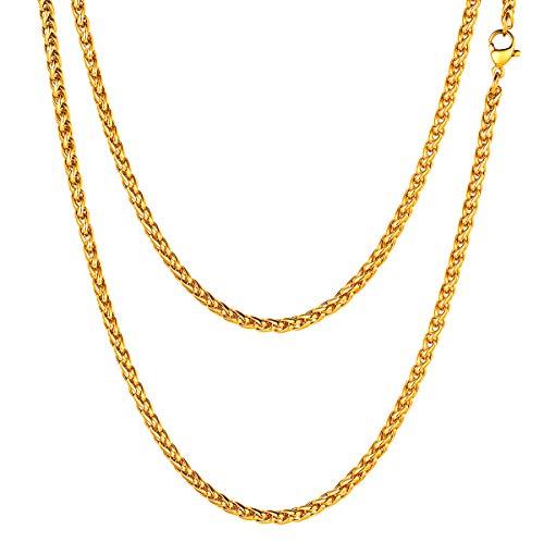 FOCALOOK Collar Hombre Cadena Trigo Serpiente 3mm Collar básica de Acero Inoxidable 51cm Chapado en Oro 18k Opcional Regalo para Mujer y Hombre con Caja