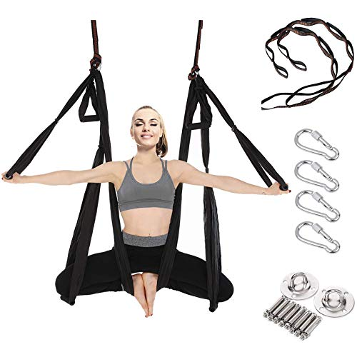Aerial Yoga Swing Set - Flying Yoga Hammock Trapeze Sling Kit Antigravity Ceiling Hanging Inversion Tool, Ceiling Anchors & 2 Extension Straps for Beginners Adults & Kids Gym/Home Fitness