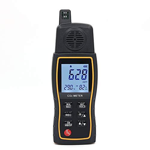 XYZLEO Co2 MessgeräT DB/WB/DP-Temperatur Co2 MessgeräT Raumluft Genau Schnell Co2 Ampel Akustischer Alarm Datenspeicher Co2 Melder Konzentrationsmessung Co2 Sensor