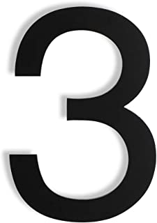 Mellewell Floating House Numbers 5 Inch Stainless Steel 18-8, Comtemporary Style Black, Number 3 Three, HN05HB-3