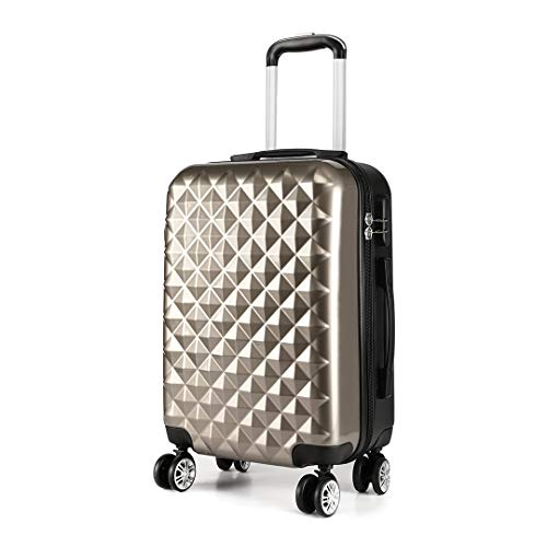 Kono 20' Hand Luggage Lightweight Hard Shell PC+ABS Suitcase 4 Spinner Wheels 360 Degree Rolling Cabin (Small, Champagne)