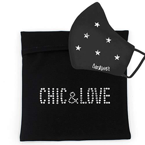 CHIC&LOVE | PortaMascarillas Negro con Cristales Brillantes | Neceser Portátil para Almacenar y Proteger tu Mascarilla en el Bolso o Mochila| | Pequeña y Ligera para Bolso o Bolsillo
