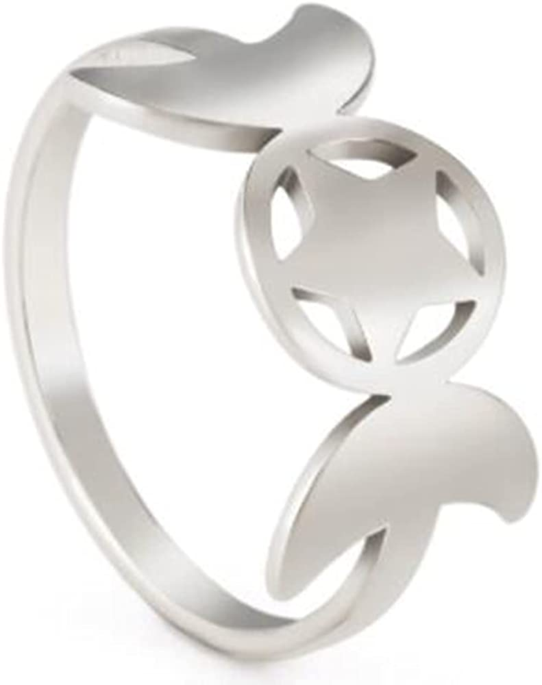 Stainless Steel Star Moon Style Wedding Promise Statement Proposal Anniversary Holiday Ring