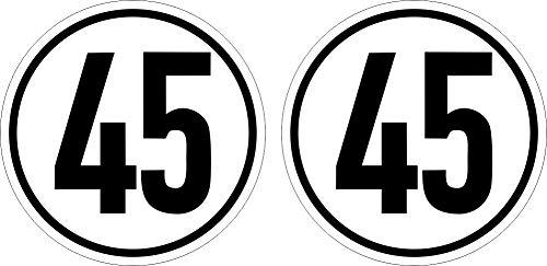 10cm! 2Stück!Aufkleber-Folie Wetterfest Made IN Germany 45-kmh Begrenzung StVZO §58.SVG Schriftart deDIN 1451 S480 UV&Waschanlagenfest-Auto-Sticker Decal Profi Qualität
