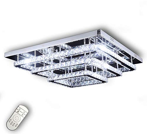 Dimmbar Led Decken Lampe Kristall Farbtemperatur steuerbar Warm Neutral Kalteiß Leuchte mit FB 60x60cm Lewima Wattra