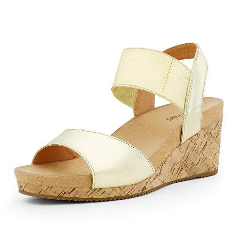 DREAM PAIRS Women's Gold Open Toe Elastic Ankle Strap Summer Platform Wedge Sandals Size 8 M US Nini-7