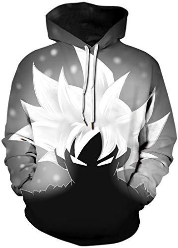 FLYCHEN Mens Unisex Hoodies 3D Printed Pullover Jumper Long Sleeve Sweatshirts SM Black White 491
