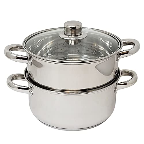 Professional 3 Quart Stainless Steel Dutch Oven Casserole With Stacking Steamer Insert Basket & Glass Lid for Steaming Vegetables & Braising Soups, Stews - Multiple Uses