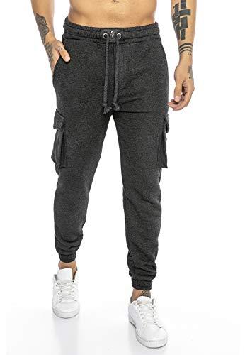 Redbridge Pantalón Chandal para Hombre Joggers Sweat-Pants Premium Silver-Skull Gris oscuro L