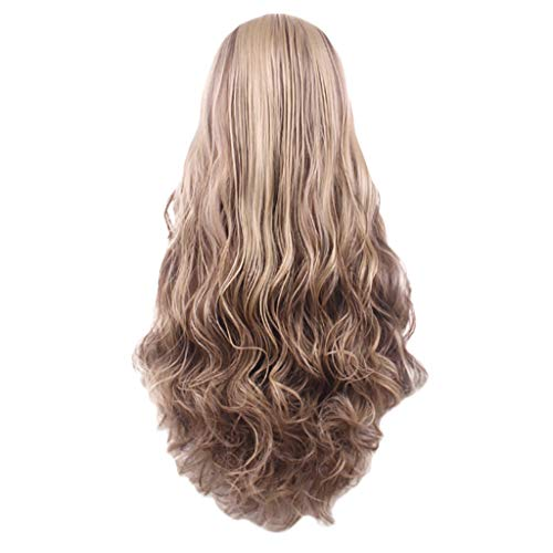Iusun Wigs,75CM Women's Full Front Long Straight Blonde Gradient Resistant Synthetic Wigs Full Hair Cosplay Costume Wigs Daily Party Anime Hair Wig High Temperature Fiber (Gold)