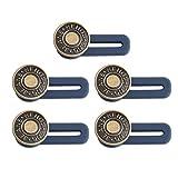 TENDYCOCO 5 Piezas de Metal Retráctil Jeans Botones Hebillas Reemplazo Elástico DIY Pantalones Extensor de Cintura para Hombres Mujeres