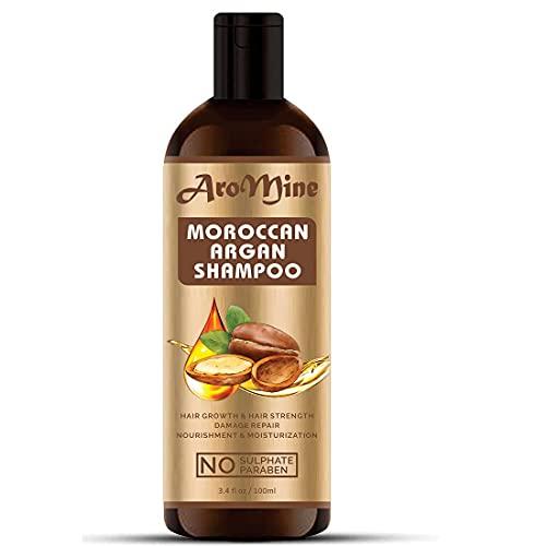 Glamorous Hub Aromine - Champú para el cabello de argán marroquí con aceite de argán orgánico (sin sulfato ni parabenos), 100 ml