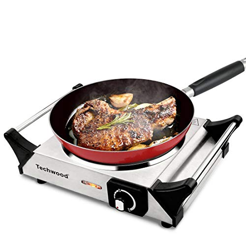 """Techwood Hot Plate Single Burner Electric Ceramic Infrared Portable Burner, 1200W with Adjustable Temperature & Stay CoolHandles, 7.1"""" Cooktop for Dorm RV/Home/Camp, Compatible for All Cookwares"""