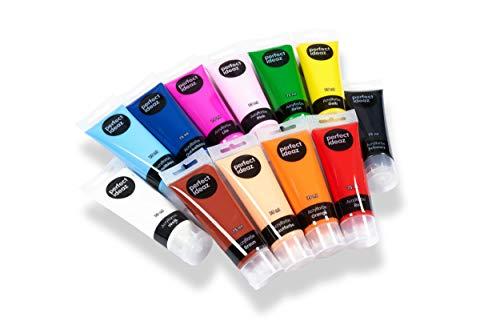 perfect ideaz 12 x 75 ml Acryl-Farbe-Set bunt, 12 Verschiedene Kreativ-Mal-Farben in Tube, hoher Anteil an Farb-Pigmenten, Acrylic Paint hoch-deckend & schnell-trocknend, ideal zum Malen & Zeichnen