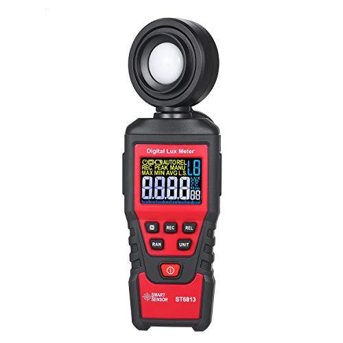 Baugger - ST6813 Iluminómetro de mano Pantalla LCD a color Luz de iluminancia digital Medidor de lux Herramienta de medición Fotómetro con batería Luxómetro con sonda giratoria de 180 ° Rango de