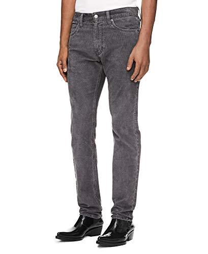 Calvin Klein Jeans Men's 5 Pocket Stretch Cotton Twill Pants, gray pinstripe, 34X32