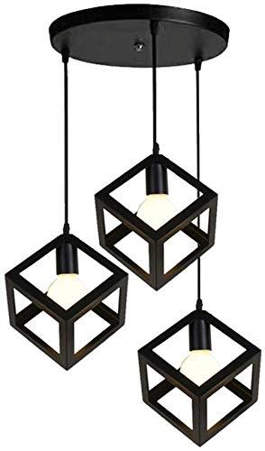 Pendelleuchte Nordic Retro Geometrie Hängelampe E27 Glühbirnen für Wohnzimmer Schlafzimmer Esstisch Lampe Dreiteilige Waschmaschine-Dreiköpfige Scheibe
