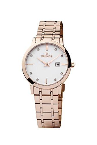 KRONOS- Elegance Ladies Rose 974.7.34 -Reloj de señora de Cuarzo, Brazalete de Acero, Color Esfera: Blanca