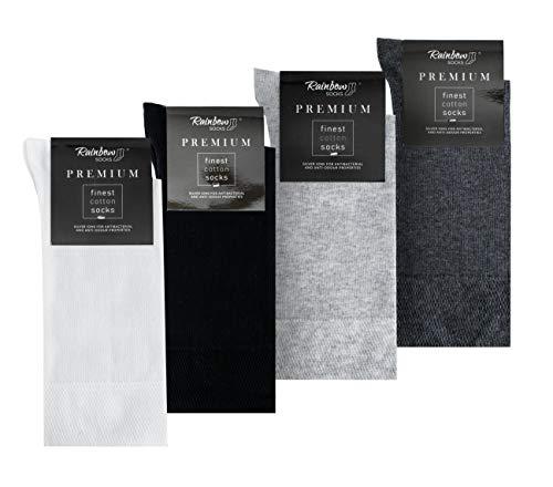 Rainbow Socks - Hombre Elegantes Calcetines Antibacterianos con Iones de Plata - 4 Pares - Blanco Negro Gris Claro Antracita - Talla 44-46