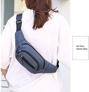 Fashion Single-Shoulder Bags Pure Color Multi-Function Pockets Waterproof Chest Bag Waist Sports Bag (Black) (Color : Blue)