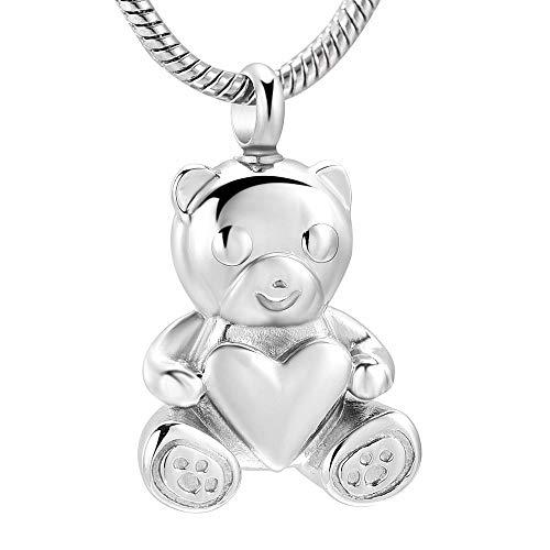 KBFDWEC Lindo Oso con Colgante de cremación de corazón de Acero Inoxidable, Collar de urna de Cenizas de Recuerdo para Mascotas/joyería Conmemorativa Humana
