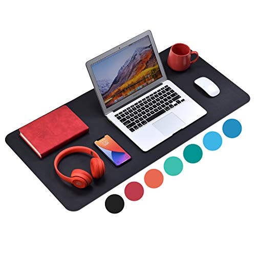 WAYBER Non-Slip Desk Pad ( 35.4 x 17' ), Waterproof Desk Mat, PU Mouse Pad, Leather Desk Cover, Office Desk Protector, Desk Writing Mat for Office/Home/Work/Cubicle ( Black )