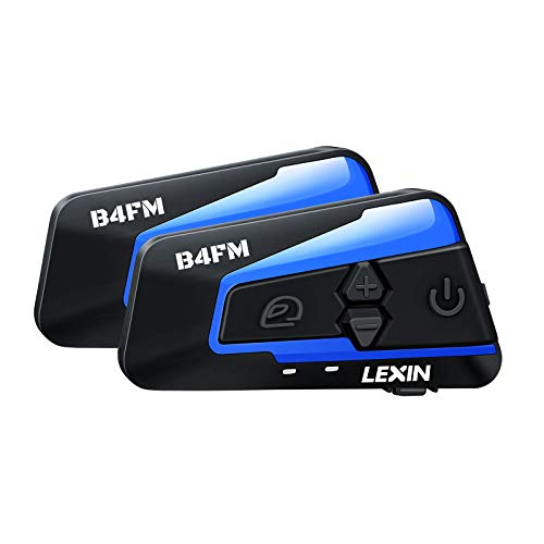 LEXIN 2pcs B4FM Motorcycle Bluetooth Intercom with FM Radio, Motorcycle Helmet Bluetooth Headset Communication With Noise Cancellation Up to 4 Riders, Universal Snowmobile Wireless Interphone