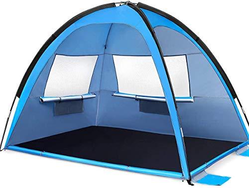 MOVTOTOP Strandmuschel, Tragbar Extra Light Strandzelt mit UV-Schutz (UPF 50), Beach Tent Sun Shelter für 3-4 Personen, Schnell Zusammengebaut Werden Kann, Beach Zelt für Familie, Strand, Camping
