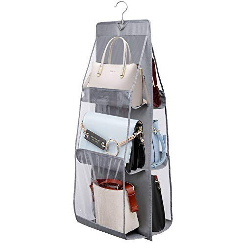 JiatuA Hanging Handbag Organizer 6-PocketBreathable Nonwoven Handbag Organizer Hanging Closet Wardrobe Storage for Purses Handbag Grey