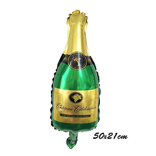 BAYUE Globos Botella Feliz 30a Fiesta de cumpleaños de la decoración de la Corona de Oro Champagne Vasos de Whisky Partido de la Bola del Globo Secundaria Foil ( Color : Mini Green Wine Bott )