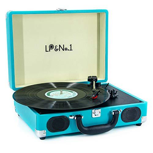 LP&No.1 Suitcase Bluetooth Turntable with Stereo Speaker,3 Speeds Vinyl Record Player Turquoise