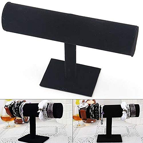 Jewelry Stand, Velvet Faux Leather Bracelet Watch Jewelry T-Bar Display Stand Holder Rack - Black 1