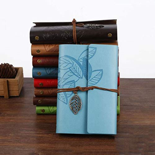 SFF Diario de oficina creativo cuaderno de hojas sueltas estudiante de cuello blanco libreta retro hojas cuaderno de trabajo reunión libro de registro cuadernos escritura (color: azul)