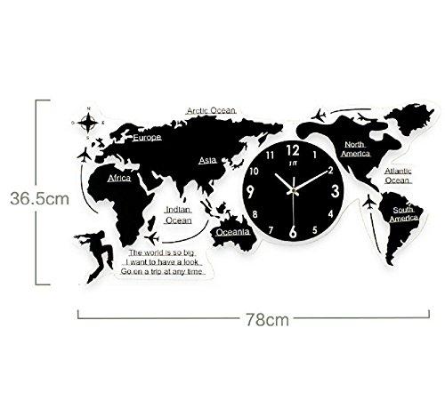 QYL DIY 3D wandklok acryl hout DIY 3D wereldkaart vijf continenten groot 78cm