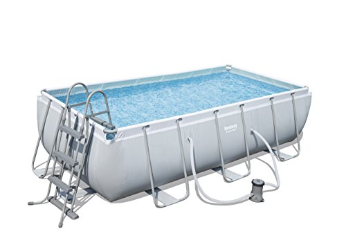 Bestway 56441 Juego de Piscina Rectangular Power Steel, Azul, 4.04m x 2.01m x 1.00m