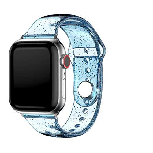 Para Apple Watch Series 6 5 4 SE Correa deportiva transparente de silicona,compatible con 38 mm 40 mm 42 mm 44 mm,brillo brillante,suave,delgada,estrecha,pequeña,compatible de silicona de repuesto