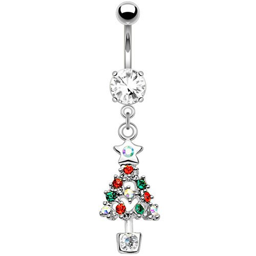 Multi CZ Christmas Tree Dangle Belly Button Ring 316L Surgical Steel